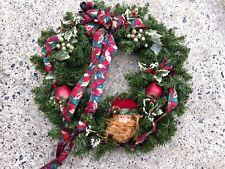 "Santa Claus Woodland And Apples & Berries Christmas Wreath 18"" X 6"" Deep UNIQUE"
