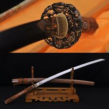 CLAY TEMPERED FOLD STEEL FullTang BLADE JAPANESE SAMURAI DRAGON SWORD KATANA