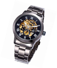 Alienwork Automatic Watch Self-winding Skeleton Mechanical Metal black W9269-04