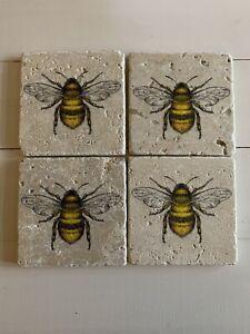 Stone Tile Vintage Bumblebee Rustic Handmade Coasters
