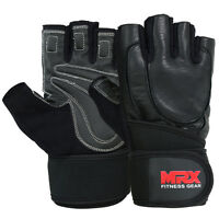 MRX Leather Weight Lifting Gloves Gym Exercise Fitness Training Workout Wrist BK