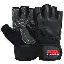 New Weight Lifting Glove Gym Fitness Training Workout Brand MRX Leather Wrist BK