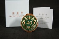 "Halcyon Days ""40"" Yr Birthday / Anniversary Green & Gold Enamel Box New In Box"