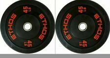 Pair Of 45 lbs/Total 90Lb Olympic Rubber Bumper Plate Ethos Barbell Weights NEW