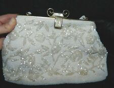 Vintage Mother of Pearl Off White Glass Beaded Flower Clutch Purse Hand Bag