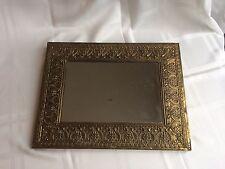 1920s Raised Embossed Brass Framed Bathroom Vanity Mirror