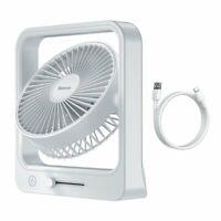 Baseus Lüfter Kühler Ventilator 10W mit 5400mAh Batterie Akku Schreibtisch Weiß