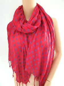 Vibrant Lipstick Red Long Scarf Covered in Purple Spots Dotty