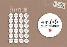 """24 x Geschenkaufkleber """"mit Liebe selbstgemacht"""" 40mm weiß Etiketten Aufkleber"""