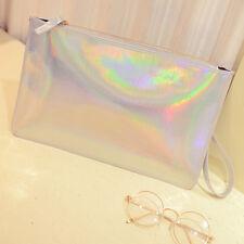 Holographic Laser Metallic Shine Handbag Messenger Bag Envelope Clutch EveningRA