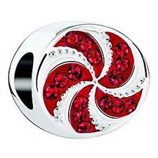 Chamilia Holiday PEPPERMINT TWIST Red Swarovski Crystals Sterling Bead 2025-1671