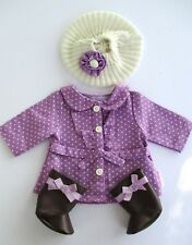 American Girl Bitty Baby Twin 2013 Dotty Coat Set Purple Coat Brown Boots Outfit
