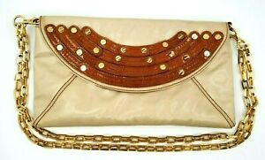 Unique Rare Tory Burch Beige Brown Envelope Clutch with Double Gold Square Chain