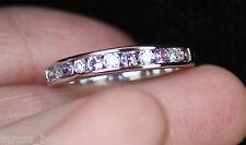 New 14K 0.6ct Natural Pink Sapphire Diamond Wedding Band Ring Guard White Gold 6