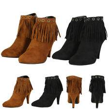 New Womens Ankle Faux Suede Fringe Tassle Moccasin Dress Heel Booties