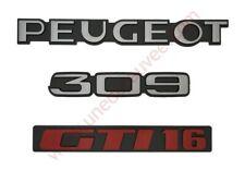LOGO PEUGEOT 309 GTI 16 GRIS ET ROUGE MONOGRAMME POUR PEUGEOT KIT DE 3