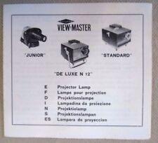 Vintage Viewmaster Ephemera - De Luxe N12, Junior & Standard Projector Leaflet