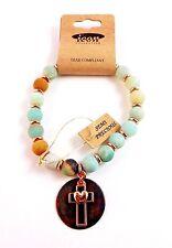 Rose Gold Tone Cross Bracelet Semi Precious Beads Pastel Colors Stretch Faith