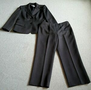Womens Pant Suit-LE SUIT-brown tweedy stretch lined long sleeve-10