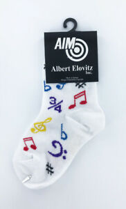 Toddler Music Novelty Socks, white socks with multicolor music notes and symbols