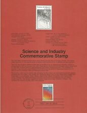 1983 U. S. USPS one Souvenir Page Scott 2031 Science and Industry 20 cent stamp