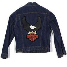 Levis Mens Denim Jacket Size 42 Red Tab Jean Harley Davidson Patch Bald Eagle