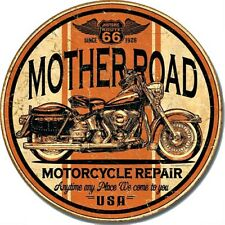 "Mother Road Route 66 Motorcycle 12"" Round Tin Sign Nostalgic Metal Sign Decor"