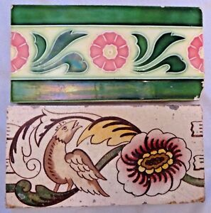 TILE JAPAN VINTAGE PORCELAIN STRIPED FLOWER BIRDS ARCHITECTURE COLLECTIBLES 2 pc