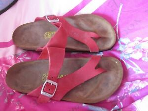 REAL NATURA RED TOE POST MULES BEACH SHOES SIZE 39 HARDLY WORN