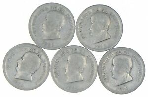 Lot of 5 El Salvador 1953 25 Centavos Silver Coin Lot - Rare one Year Issue *310