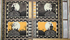 """Come Sit a Spell Graveyard Halloween Fabric 23"""" Placemat Panel #84394"""