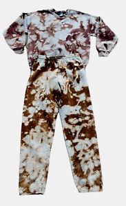 Womens Tie Dye Jogger Loungewear Set Long Sleeve Knit Sweatpants Sweatshirt M/L