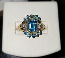 Designer 10k Yellow Gold Swiss Blue Topaz diamond bold Ring $550 THL