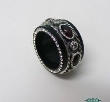 New Sterling Silver CZ Garnet And Black Acrylic Swiveling Band Ring