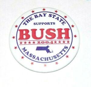 2004 GEORGE W. BUSH MASSACHUSETTS campaign pin pinback button political kerry