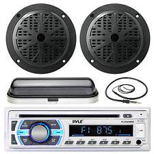 "4"" Black Marine 100W Speakers, Pyle Bluetooth USB AUX Radio,Antenna, Radio Cover"