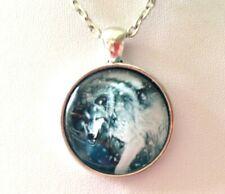 Black White Wolf Glass Cabochon Silver Tone Pendant Necklace Goth Steampunk