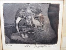 "Vtg Small Mezzo-tint ENGRAVING ""Face"" by Jeffrey DUNN Expressionist 5/13 SIGNED"