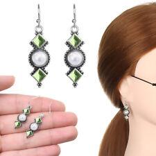 Green Eardrop Jewelry Dangle Drop 2019 Silver Plated Pearl Earrings Square drill