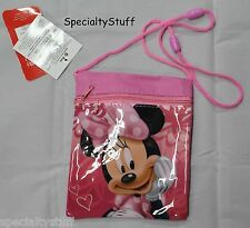 "NEW DISNEY MINNIE MOUSE BOWTIQUE MINI PASSPORT ZIPPERED BAG 5-1/2""x6"" PURSE (LP)"