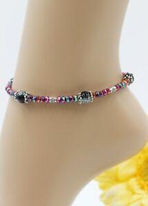XS Zarte Fußkette Fußkettchen Silber Sommer Perlen Schwarz Violett Boho #J058