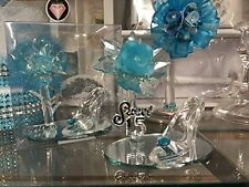 10 Mis Quince Anos Sweet 15 Acrylic Flower with High Heel Shoe Favor Turquoise