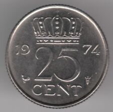Netherlands 25 Cents 1974 Nickel Coin - Queen Juliana