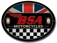 BSA MOTORCYCLES OVAL METAL SIGN.OFFICIALLY LICENSED B.S.A PRODUCT. &™ BSA. RED