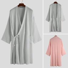 Men Womens Cotton Kimono Yukata Pajamas 3/4 Sleeve Bathrobe Robe Gown Nightwears