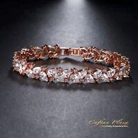 Edeles Rosegold Luxus Zirkonia Armband Brautschmuck Bracelet AAA+