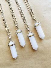 White Jade Point Necklace Crystal Gemstone Pendant Bohemian Boho Gypsy Reiki