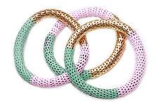 Conjunto de 3 oro/rosa/menta Elástico Cuerda Pulseras Glam mezcla ropa casual (CL26TR)