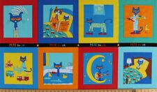 """24"""" X 44"""" Panel Pete the Cat Bedtime Squares Blocks Kids Cotton Fabric D561.42"""