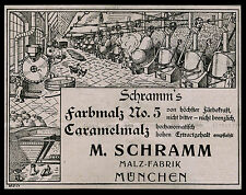 Alte Reklame 1904 Schramm`s Farbmalz No. 5 M. Schramm Malz-Fabrik München
